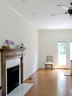 Walls: Benjamin Moore Acadia White OC-38 in eggshell  Crown molding: Sherwin Williams Dover White  Trims & windows: Benjamin Moore White Dove