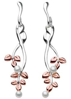 Fleur Wisteria Freshwater Pearl Earrings---  The Wisteria earrings cascade in botanical fashion with freshwater pearls capping the ends, from Kit Heath's Fleur collection. Sterling silver, rose gold plate Freshwater pearls      SKU 5021RFP     Brand Kit Heath     MSRP $75.00