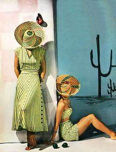 Couture Allure Vintage Fashion: Dan River Stripes - 1948 pinning fit the dress Mode Vintage, Vintage Ads, Vintage Style, Vintage Swim, Vintage Romance, Vintage Vogue, Vintage Beauty, Striped Dress Outfit, Stripe Dress