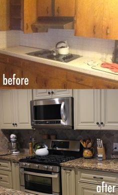 Traditional #kitchen renovation with before after shots. We added new cabinets, countertops and backsplash.