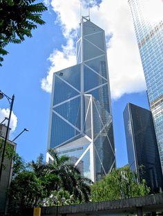 Torre del banco de China, en Hong Kong, diseñada por el arquitecto Ieoh Ming Pei