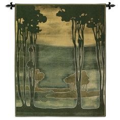 Nouveau Trees Wall Tapestry: Artist Jennifer Goldberger began painting with oils at the tender age of eleven and has been working with them ever since. Her artwork Nouveau Trees I depicts a forest of shadowy tree silhouettes, done in a classic, vintage style. Our artisans wove a wall tapestry version that well conveys the layers of earthy neutrals and deep greens to a textile work of art for your home.