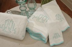 Leontine Linens has beautiful monogrammed items; I especially like the cocktail napkins.