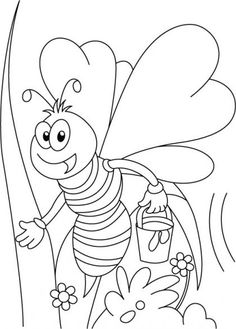 Miss honey bee on her tweet coloring pages