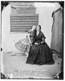 Confederate spy Rose Greenhow and her daughter, Little Rose, in the yard at Old Capitol Prison in Washington, DC, 1862.