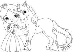 Ausmalbild Prinzessin: Prinzessin und Einhorn kostenlos ausdrucken