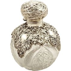 Antique Victorian Cut Glass & Sterling Silver Overlay Perfume / Scent Bottle 1898