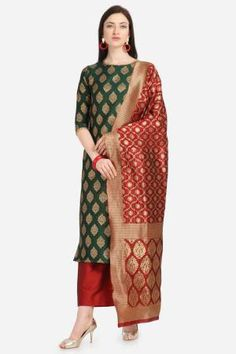 Green Silk Hand Woven Unstitched Straight Suit Latest Salwar Suits, Latest Salwar Suit Designs, Suits Online Shopping, Womens Dress Suits, Palazzo Suit, Salwar Kameez Online, Cotton Suit, Green Silk, Pakistani Dresses