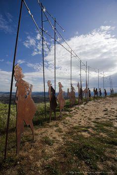 Image detail for -Iron sculpture of a group of pilgrims, Alto del Perdon, Sierra del Perdon, near Pamplona, Camino Frances, Way of St. James, Camino de Santiago, pilgrims...