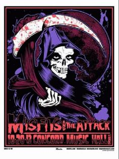 Original silkscreen concert poster for Misfits in Chicago 2013.  17.5 x 23 inches. Signed and numbered out of only 80 by the artist Mike Martin.