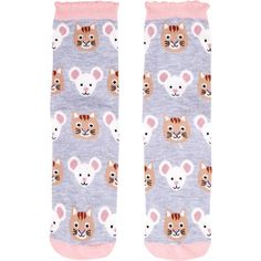 Accessorize All Over Cat And Mouse Socks ($7) ❤ liked on Polyvore featuring intimates, hosiery, socks, cotton socks and cat socks