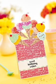 Craft a sweet ice cream greeting to brighten someone's day! Click now and get crafting!