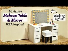 Miniature Makeup Table & Mirror with working lights - Ikea inspired doll furniture Tutorial Dollhouse Tutorials, Diy Dollhouse, Dollhouse Miniatures, Miniature Tutorials, Miniature Furniture, Doll Furniture, Dollhouse Furniture, Diy Vanity Mirror, Table Mirror