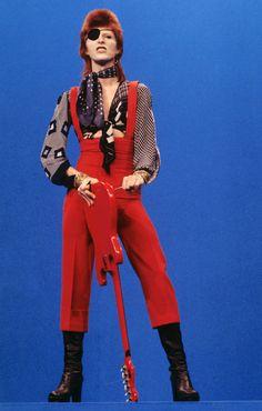"Performing ""Rebel Rebel"" on the TV show <i>TopPop</i> in 1974 in Hilversum, Netherlands."