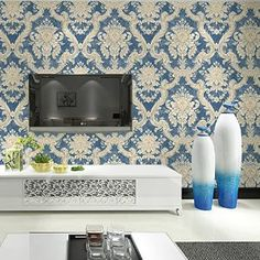 "HaokHome DR3015 Non Woven Vintage italian Damask Wallpaper Blue/Cream Victorian Wall Paper for living room bedroom Murals 20.8"" x 393.7"" - - Amazon.com"