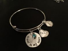 Forever in My Heart AUNT Adjustable Stainless Steel Bangle Bracelet with Birthstone & Initial Charm by JudisEtsyTreasures on Etsy