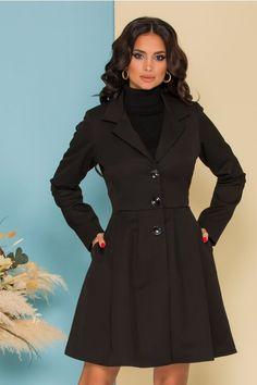 Trench Ella Collection Kira negru cu pliuri pe talie Trench, Coat, Jackets, Collection, Shopping, Fashion, Down Jackets, Moda, Sewing Coat