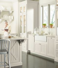 Seal Harbor cabinets (martha stewart): the paint is Gull. the counters are Shoreline Corian