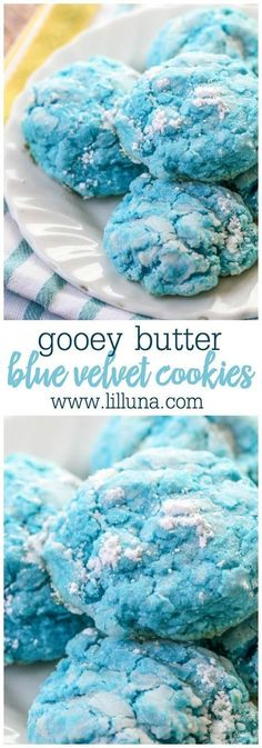 Delicious Gooey Butter Blue Velvet cookies on { lilluna.com } Made from blue velvet cake box mix, cream cheese, and powdered sugar, these cookies are SO good!!