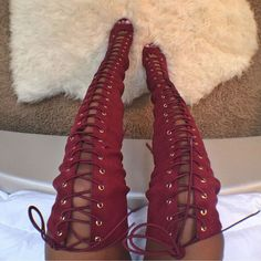 Lace Up Thigh High Peep Toe Boots