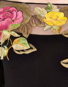 Wild and Tactile - Blumarine Fall Winter 2015/2016 • Rose-embroidered Stretch Knit Dress.
