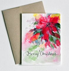 Hand lettered Hand painted Watercolor Christmas Card Poinsettia Merry Christmas Christmas watercolor card handpainted Holiday cards by sanketi on Etsy