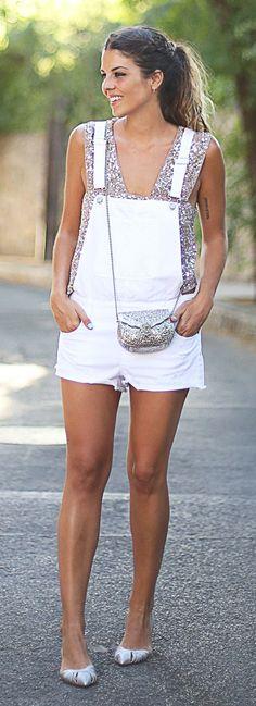 Zara Top + White Denim Overall