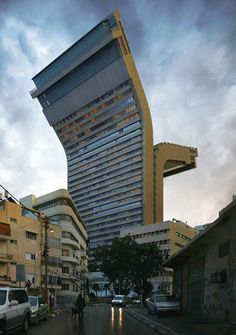Unique buildings designed by Spanish artist and photographer Victor Enrich. Realistic renderings of upside down buildings and other eye-catching structures were inserted into the photos of the real world locations. Unusual Buildings, Interesting Buildings, Amazing Buildings, Modern Buildings, Architecture Unique, Interior Architecture, Building Architecture, Installation Architecture, Architecture Images
