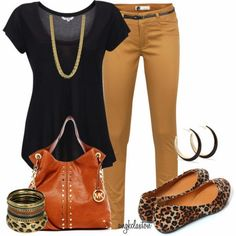 """Fall Neutrals"" by angkclaxton on Polyvore tan black leopard flats teacher outfit casual"