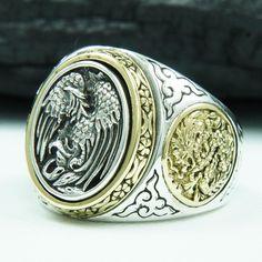 Phoenix of The Rising Sun 925 Sterling Silver US Sz 12 5 Men Biker Ring GB R010 | eBay