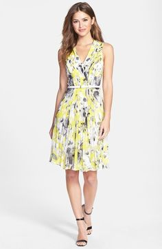 Donna Morgan Print Pleat Chiffon Fit & Flare Dress available at #Nordstrom