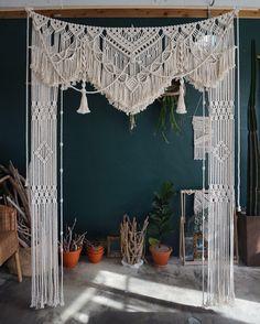 Large Macrame wedding backdrop, macrame wedding arch, modern macrame, boho wedding decor, photobooth backdrop – Famous Last Words