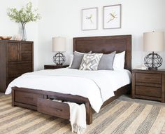 The Riley storage bed will add plenty of character and order to your bedroom. Crafted of hardwood and veneer, the handsome, streamlined bed features a brownstone finish, aged bronze hardware and convenient USB outlets built into the headboard. See more styles from #CasualLiving #LivingSpaces