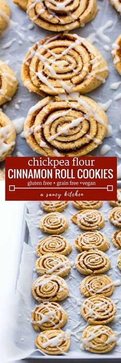 Gain Free Cinnamon Roll Cookies made with chickpea flour - one bowl and easy to make! Gluten Free + Vegan