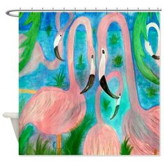 """Flamingo party shower curtain from my art. Size 70"""" x 70"""" 100% softened polyester, Machine washable Standard size with 12 stitch-enforced eyelets for hanging,Custom sizes available. Contact me for det"""