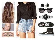 """""""Shorts Mood"""" by teodoramaria98 ❤ liked on Polyvore featuring Forever 21, Vans, Yves Saint Laurent and Roamer of Switzerland"""