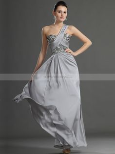 One Shoulder Sequined Bodice A Line Prom Dress