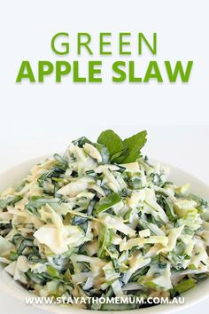 """""""Green Apple Slaw This is an amazingly simple Green Apple Coleslaw and will have your taste buds wanting more. It is a fresher and crisper alternative to standard coleslaw flavours, and is particularly good with pulled pork. Green Apple Recipes, Apple Salad Recipes, Slaw Recipes, Apple Coleslaw, Apple Slaw, Green Apple Salad, Simple Green Salad, Vegan Coleslaw, Vegetarian Recipes"""