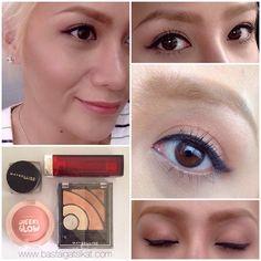ALL MAYBELLINE:  Eye Studio Lumineyes Shadow, ColorSensational lipstick in Peachy Scene; 36h lasting eye studio gel liner in black; and Cheeky Glow blush
