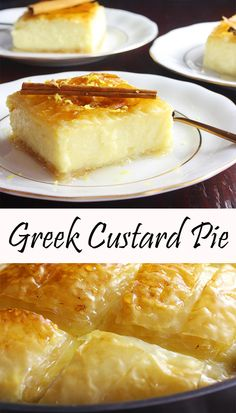 If you want this delicate custard wrapped up by layers of thin, crunchy phyllo bathed in delicious, succulent syrup, you should make this Greek custard pie. Greek Sweets, Greek Desserts, Just Desserts, Delicious Desserts, Greek Dinners, Greek Pastries, Custard Desserts, Tandoori Masala, Greek Cooking