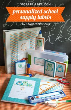 Fancy up their school supplies with these cute free labels. Personalized School Supply Labels via liagriffith.com