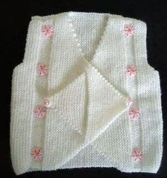 How to tutorial knitting and crochet baby pattern free Baby Sweater Knitting Pattern, Baby Knitting Patterns, Knitting Designs, Baby Patterns, Loom Crochet, Gilet Crochet, Crochet Baby, Crochet Edging Patterns, Knit Baby Dress