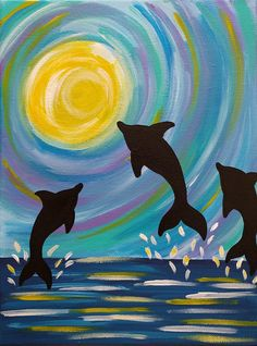 Dolphin Painting, 9x12 Inch Painting, Colorful Dolphin Art, Ocean Painting, Dolphin Wall Decor, Dolphin Gift Idea, Jumping Dolphins, Summer Dolphin Painting, Dolphin Art, Etsy Co, Paint And Sip, Ocean Art, Framed Art, Framed Prints, Wall Art, Paint Party