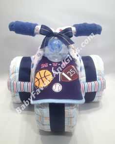 Champion Tricycle Diaper Cake - Baby Boy Diaper Cakes - by BabyFavorsAndGifts.com