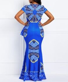 Material: Twilled Satin Silhouette: Mermaid Dress Length: Floor-Length Sleeve Length: Cap Sleeve Neckline: Square Neck Combination Type: Single Waist Line: High-Waist Closure: Pullover Elasticity: High Elasticity Detachable Collar: No With Belt: No Patter White Dresses For Women, African Dresses For Women, African Print Dresses, African Print Fashion, African Attire, African Traditional Dresses, Latest African Fashion Dresses, Casual Dresses, Maxi Dresses