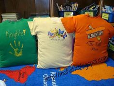 Stuff old T-shirts to make pillows for reading time