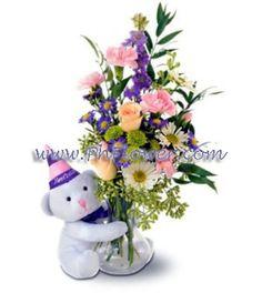 Carnations, roses, chrysanthemums and larkspur
