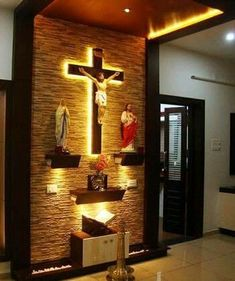 christian prayer room designs for home Prayer Corner, Prayer Wall, Prayer Room, Home Altar Catholic, Altar Design, Foyer Design, Prayer Garden, Pooja Room Design, Home Modern