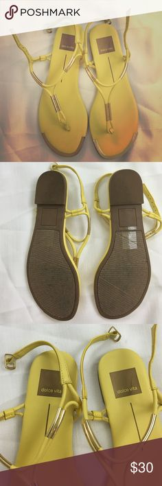 Dolce vita gold toe sandals yellow Gold toe and gold bar decorations on straps. Buckle adjustable around ankle. Worn a couple times, great condition. A little scuff on the gold DV logo on heel bed of left shoe.🌹NO TRADES🌹REASONABLE OFFERS WELCOME🌹OFFER FEATURE TO BE USED FOR ALL PRICE NEGOTIATIONS🌹LEAVE KIND WORDS AND QUESTIONS IF YOU HAVE ANY 🌹BUNDLE AND SAVE!!!🌹 Dolce Vita Shoes Sandals