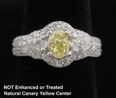 1.72CT Fancy Yellow Canary Diamond Ring in Solid 14K White Gold, SZ 6.5, NEW! #SolitairewithAccents